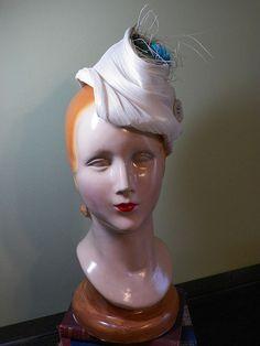 Cream Colored Jinsin Robin's Nest Hat OOAK by BaublesAndWhatnots, SOLD