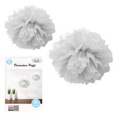 White 30cm Tissue Flowers (set of 2)