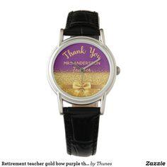 Retirement teacher gold bow purple thank you watch