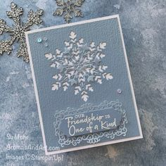 Snowflake Friendship Card - Aromas and Art Winter Cards, Holiday Cards, Christmas Cards, Young Living Distributor, Friendship Cards, Art Pages, Embossing Folder, Paper Design, Card Templates