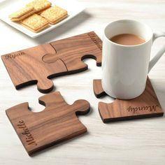 Personalised Set Of Four Walnut Wood Coasters #WoodworkingCnc