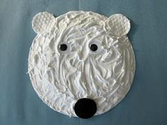 A puffy paint (glue and non-menthol shaving cream) paper plate polar bear! A puffy paint (glue and non-menthol shaving cream) paper plate polar bear! Puffy Paint, Animal Crafts For Kids, Winter Crafts For Kids, Spring Crafts, Kids Crafts, Snow Crafts, Toddler Crafts, Daycare Crafts, Classroom Crafts