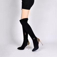 ZK mulheres moda sapatos de salto alto over-the-knee botas de couro genuíno preto sapatos de fundo vermelho