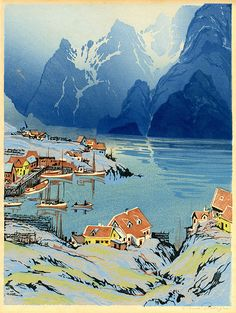 """✨ Paul Oscar Droege (1898-1983) - Fjord & Norwegian fishing village, c. 1935, color woodcut, antique-white laid paper. Signature pencil, lower right;  titled in pencil in lower left corner 15 1/2 x 11 3/4"""" :::  Edition Size not stated. Reference: not in Behrens-Repetzky"""