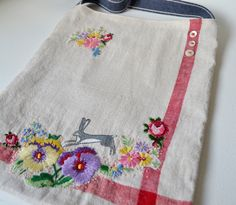 Bag - Purse - Hip-Cross body : one of a kind screen printed and hand embroidered - Hare running by hensteeth on Etsy