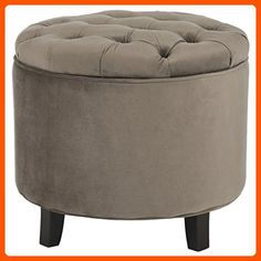 Safavieh Hudson Collection Amelia Tufted Storage Ottoman, Mushroom Taupe - Improve your home (*Amazon Partner-Link)