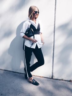 Over & Over - POSCHSTYLE. White shirt+black bralette+black joggers+black slippers+black shoulder bag. Fall Outfit 2016