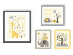 Baby Room Decor, Nursery Art baby boy, safari, abc, PBK,set 1 11x14 and 3 8x10, yellow, gray, baby elephant, giraffe, owl, before you were by DesignByMaya on Etsy https://www.etsy.com/listing/77592468/baby-room-decor-nursery-art-baby-boy