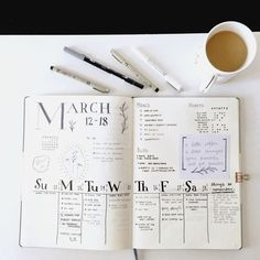 Bullet journal weekly layout a week in March