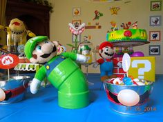 Fun decorations at a Super Mario Bros birthday party!  See more party ideas at CatchMyParty.com!