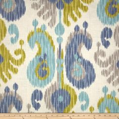 This ikat is nice.  Not quite turquoise, but a softer aqua.  Would bring in the grey and green nicely.  This is just fabric so we'd make our own curtains out of it.  Braemore Journey Ikat Aquamarine