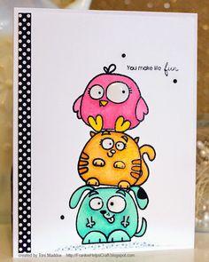 Frankie Helps Craft: Chubby Chums Make Life Fun Cute Doodle Art, Doodle Art Drawing, Cute Doodles, Handmade Cards For Friends, Handmade Birthday Cards, Paper Smooches, Birthday Card Drawing, Wal Art, Envelope Art