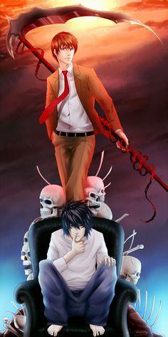 La justicia del bien y el mal. Sin mal no hay bien. Otra de Death Note, Light y L. No es un detalle; los opuestos se atraen.