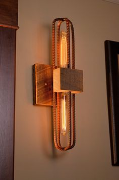 Rebar and Barn Wood Sconce/Vanity Light Fixture in Rubbed Red Finish - Burçin Ersoy - Welcome to the World of Decor! Light Fixtures Bathroom Vanity, Wood Bathroom, Wood Sconce, Sconces, Wine Bottle Chandelier, Luminaria Diy, Outdoor Light Fixtures, Wooden Lamp, Pipe Lamp