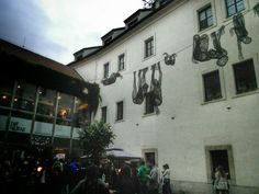 Veronika Psotkova's unusual art in the courtyard of the Novomestska Radnice. www.nakedtourguideprague.com