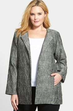 Eileen Fisher Plus Size Cotton Silk Jacket