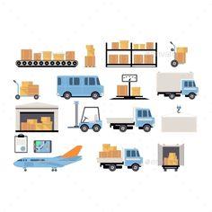 Warehouse Flat Set Of Logistics Packing Process