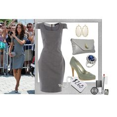 Kate Middleton - Grey Dress Look for less, created by perth-fashion-stylist on Polyvore
