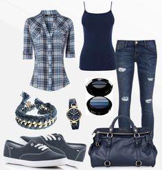 outfit #dorado, #negro, #azul