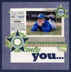 Only You Layout by Laina Lamb using Jillibean Soup's Macho Nacho Soup Collection, Grilled Gray Alphabeans, Epoxy Chipboard Buttons, and Corrugated Alphas (via the Jillibean Soup blog).