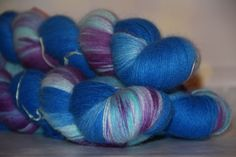 Hand dyeing,Angora/PA, 874 yards/800 meters, Footprints in the water by PositiveCreative on Etsy