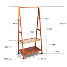 Portable Wood Wheeled Clothes Garment & Shoe Rack - #Clothes #Garment #Portable #Rack #Shoe #Wheeled #wood