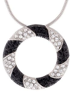 """Lareine S.S. Circle Pendant with Swarovski Crystals and 18"""" Snake Chain"""