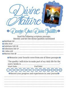 """Divine Nature #6 worksheet to go along with our Wednesday night activity about WHO we ARE and WHO we can BECOME!! Play Mormon message from Pres Uchtdorf """"Our True Identity"""" and discuss the worlds standards of beauty and worth vs. what the Lord says in the listed scriptures... For more of my creations visit https://www.etsy.com/shop/madebyraMEe"""