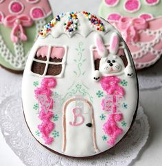 Bunny house chocolate cookies with royal icing.