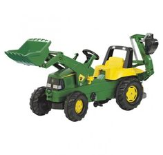 This John Deere ride on tractor with frontloader and working rear excavator will keep your children occupied for hours on end.
