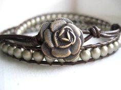 Gemstone and Beaded Leather Wrap Bracelet