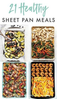 Is there anything better than making an entire meal on one pan? I rounded up 21 healthy sheet pan recipes for you for super simple meals this week! Healthy Recipes Healthy Sheet Pan Dinners That Make Weeknight Meals a Breeze Healthy Snacks, Healthy Cheap Meals, Heart Healthy Meals, Simple Healthy Recipes, Healthy Dinners For Two, Simple Meals For Dinner, Fast Recipes, Cheap Recipes, Healthy 30 Minute Meals