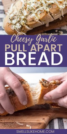 What could be better than a loaf of warm, Italian garlic bread? Stuffing it with melty cheese of course! You won't be able to stop devouring this delicious cheesy garlic pull apart bread! Garlic Herb Butter, Garlic Bread, Home Recipes, Holiday Recipes, Vegetarian Italian, Quick Appetizers, Pull Apart Bread, Piece Of Bread, One Pot Meals