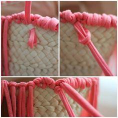diy personalizar capazo con trapillo Ibiza, Diy Straw, Crochet Diy, Basket Bag, Fabric Bags, Crochet Purses, Diy Arts And Crafts, Knitted Bags, Diy Accessories