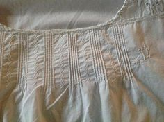 Check out Large Cotton & Broiderie Anglaise French Vintage Cotton Slip  Monogrammed. Could be a night dress or sun frock. 1920s. 42 inches. 107 cm on fleursenfrance