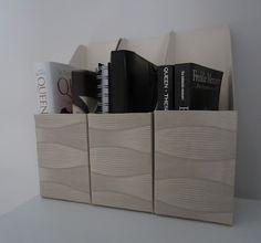 Made from cereal boxes. Tee-se-itse-naisen sisustusblogi: Murolaatikoista lehtikoteloita