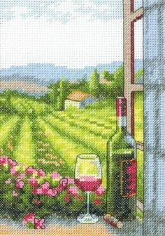 Wine With A View Cross Stitch Kit £12.00 | Past Impressions | Dimensions