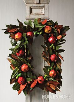 Photo Gallery: DIY Holiday Wreaths | House & Home!!! Bebe'!!! A Square Magnolia and Pomegranate Wreath!!!