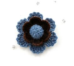 CROCHET-BROOCH-APPLIQUE-DENIM-BLUE-BROWN-FLOWER