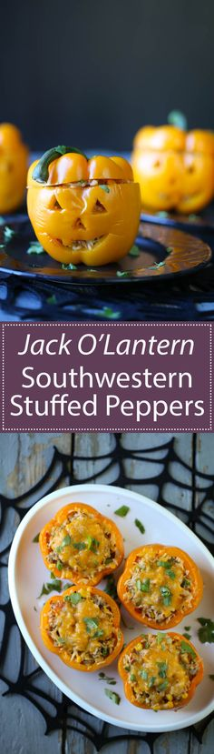 Jack O'Lantern Southwestern Stuffed Peppers are the perfect Halloween recipe! They're packed with rice, ground turkey or black beans, corn, salsa, and of course CHEESE!