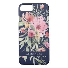 Spring Floral | Watercolor Flowers with your Name iPhone 8/7 Case - modern style idea design custom idea