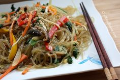 Japchae noodles are amazing- they have a nice texture and are familiar enough that people who are averse to Korean foods will give them a try.
