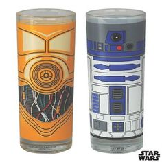 & Star Wars Set Of 2 Glasses Tumbler Retro Film Droids Gift Vader
