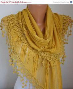 Lace Scarf -  scarf shawl -  -  Free scarf - Saffron - fatwoman. $17.91, via Etsy.  :)