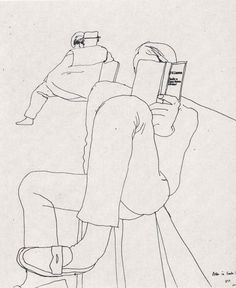 Peter in Santa Monica, drawing by David Hockney
