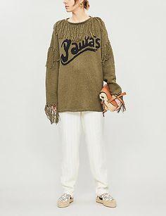 LOEWE Loewe x Paula's Ibiza tasselled cotton-knit jumper Loewe Puzzle, Loewe Bag, Leather Saddle Bags, Ibiza, White Jeans, Fashion Online, Tassels, Jumper, Bell Sleeve Top