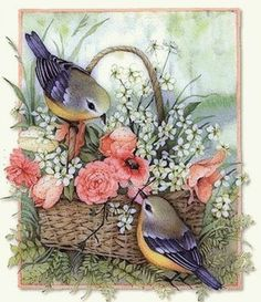 birds gif animation for orkut graphics, images, quotes and e-cards to send to your friends Bird Pictures, Vintage Pictures, Vintage Images, Vintage Cards, Vintage Paper, Vintage Postcards, Decoupage Paper, Art And Illustration, Bird Art