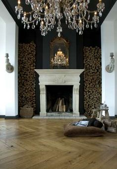 Wood and classy fireplace and candelabra! I like it all
