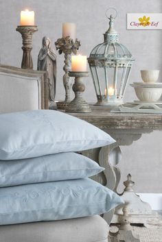 SHABBY CHIC LIVINGROOM by Clayre & Eef • Blue cushion with french flowers emboidery, chair, Lanterns and hurricane lamps, Maria, tableware, beige interior. French Flowers, Hurricane Lamps, Blue Cushions, Home Accessories, Lanterns, Bed Pillows, Pillow Cases, Shabby Chic, Beige
