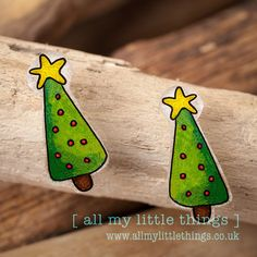 Christmas Tree Earrings hand drawn by www.allmylittlethings.co.uk ideal stocking filler or gift £5.00